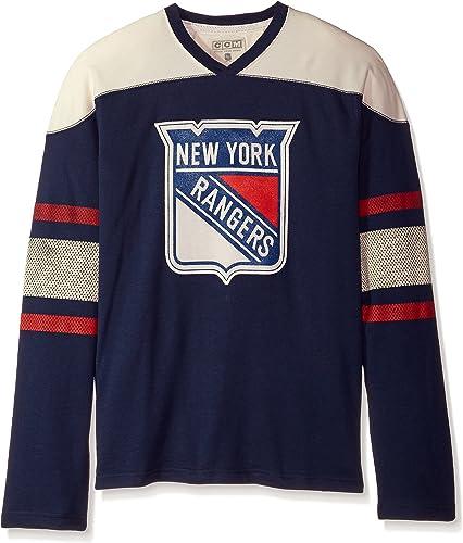Adidas nouveau York Rangers CCM NHL Top Shelf Hommes's hommeche longue Crew Shirt Chemise
