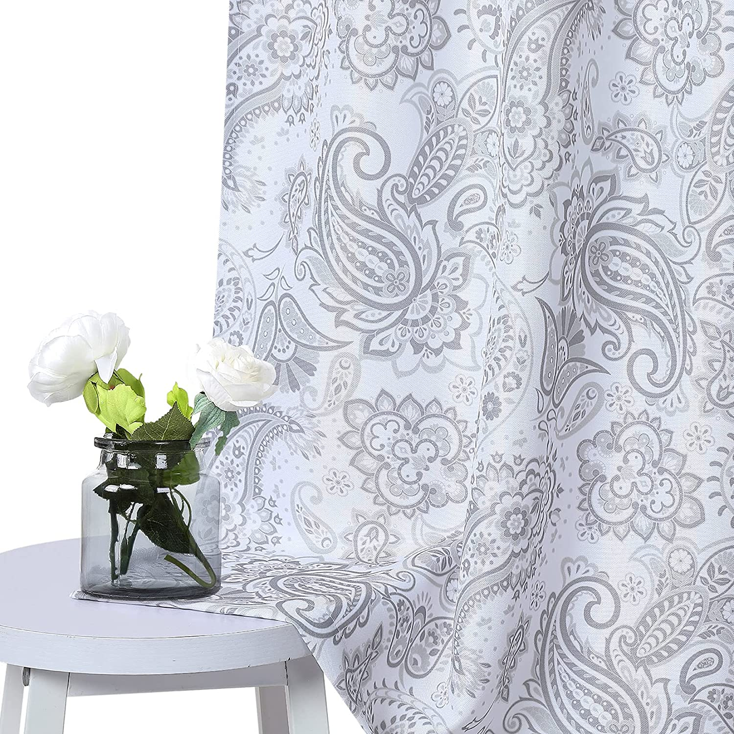 CAROMIO Credence Grey Tier Curtain for Paisley Kitchen Drapes W Small Raleigh Mall