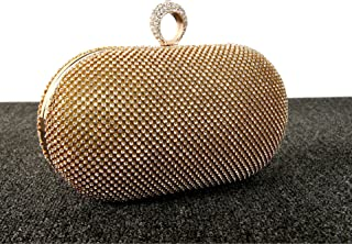 Evening Hand Bag Full Diamond Diamond Diamond Ring Dress Dinner Bag Handbag Bag,Gold