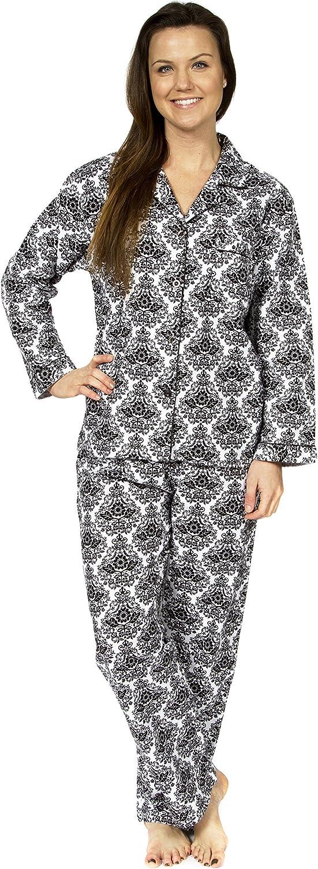 Leisureland Women's Cotton Flannel Pajama Set Damask Print White