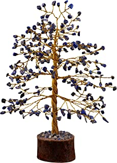 FASHIONZAADI Lapis Lazuli Gemstone Tree Healing Crystal Chakra Bonsai MoneyTrees Reiki Stone Good Luck Crystals Home Offic...