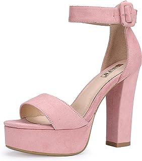 5aabaa7f5c IDIFU Women's IN5 Sabrina Ankle Strap Platform High Chunky Heels Party  Sandal
