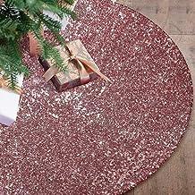 Ivarunner Rose Gold Glitter Sequin Tree Skirt,Small Halloween Tree Skirt 36 Inch,Tree Mats for Christmas Tree Decoration X...
