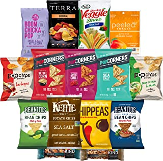 Healthy Snack Chips, Gluten Free and Non GMO, Variety of Different Flavors, Includes Bean Chips, Potato Chips, Popcorn and Peeled Snacks (15 Count)