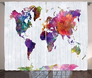 Ambesonne Watercolor Curtains, Multicolored Hand Drawn World Map Asia Europe Africa America Geography Print, Living Room Bedroom Window Drapes 2 Panel Set, 108