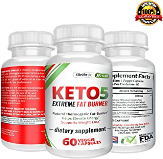 Keto-5 Extreme Fat Burner - Supports Healthy Weight Loss, Mental Focus & Clarity 60 Ct. Extra Strength Ketogenic Supplement Pills