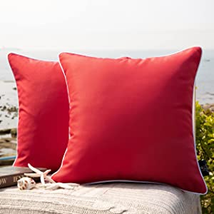 Phantoscope Pack of 2 Outdoor Waterproof Throw Pillow Covers Decorative Square Outdoor Pillows Cushion Case Patio Pillows for Couch Tent Sunbrella (18''x18'',Red)