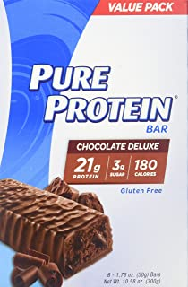 Pure Protein Bars, High Protein, Nutritious Snacks to Support Energy, Low Sugar, Gluten Free, Chocolate Deluxe, 1.76oz, 6 Pack, 2 Pack