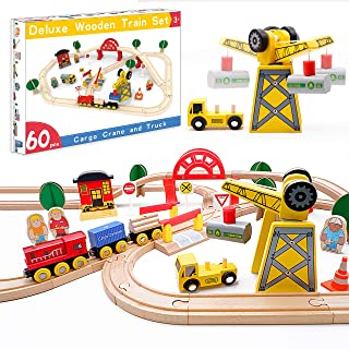 Crane Train Set- 60 Pcs Wooden Track & Exclusive Crane & Trains- Gift Packed Toy Railway Kits- Fits Thomas, Chuggington, Melissa- Kids Friendly Building Toy for 2+ Years Old Girls & Boys
