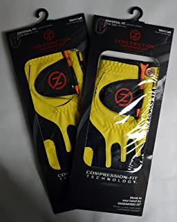 2 Zero Friction Men's Golf Gloves, One Size, Left Hand, Yellow
