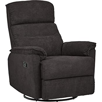 "Amazon Brand – Ravenna Home Pull Recliner with 360 Rotating Swivel Glider, Living Room Chair, 39""W, Dark Grey"