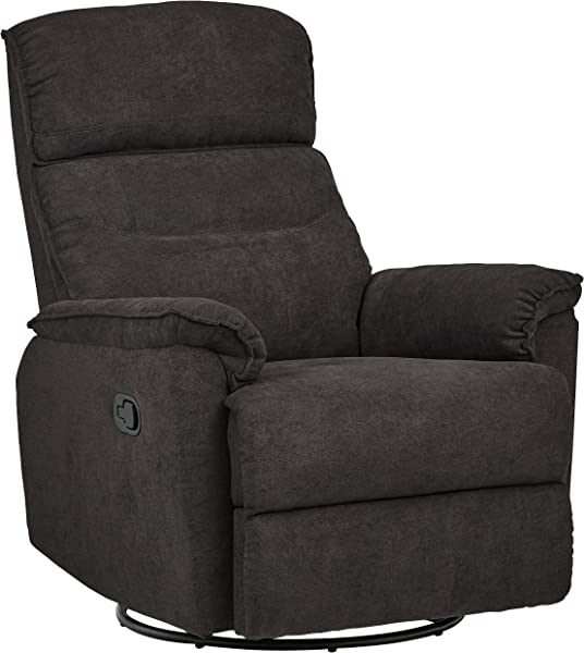 Ravenna Home Pull Recliner With Rotating 360 Swivel Glider Living Room Chair Fabric Dark Grey