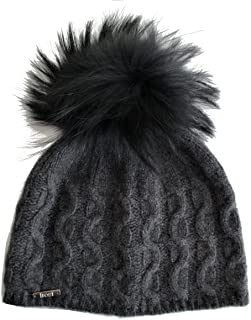 Cashmere Cable Hat with Detachable Genuine Raccoon Fur Pom CSH-735SRN
