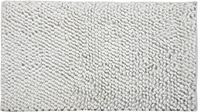 Saffron Fabs Bath Rug Cotton and Microfiber, Size 50x30 Inch, Round Loop Bubbles Pattern, Latex Spray Non-Skid Backing, Solid White Color, Handloom Heavy 200 GSF Weight, Spot Clean, Rectangular Shape