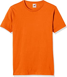 Fruit of the Loom Mens Fitted Valueweight Short Sleeve Slim Fit T-Shirt (S) (Orange)