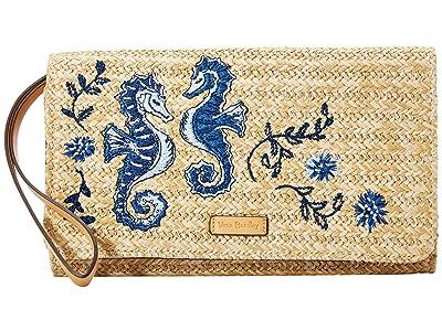 Vera Bradley RFID Straw Beach Wristlet (Natural Sea Life) Wristlet Handbags