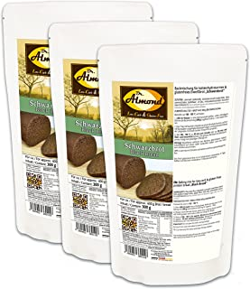 Dr. Almond VEGANE Paleo Eiweißbrot Backmischung SCHWARZBROT Brotbackmischung glutenfrei sojafrei vegan 3er Pack
