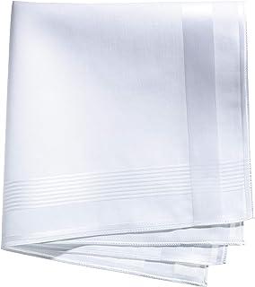 Lehner 瑞士男式白色棉缎带手帕