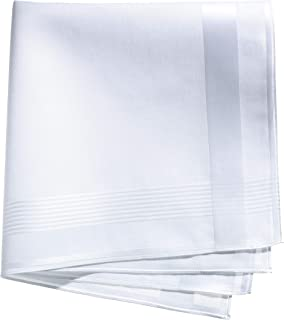 Lehner Switzerland Men's White Cotton Satin Band Handkerchief