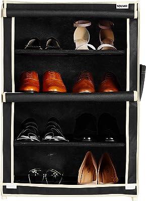 Amazon Brand - Solimo Shoe Rack, 4 Racks, Black