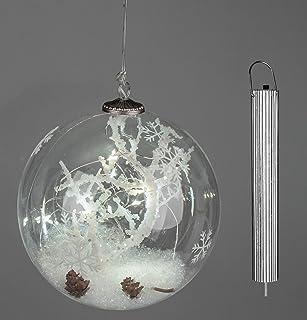 Formano Glas Hänger LED Licht Stern Federn 12 cm Durchmesser NEU