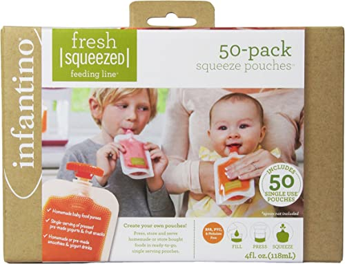 Infantino Disposable Squeeze Pouches - Pack of 50 disposable pouches for portable homemade semi-solid food for babies...