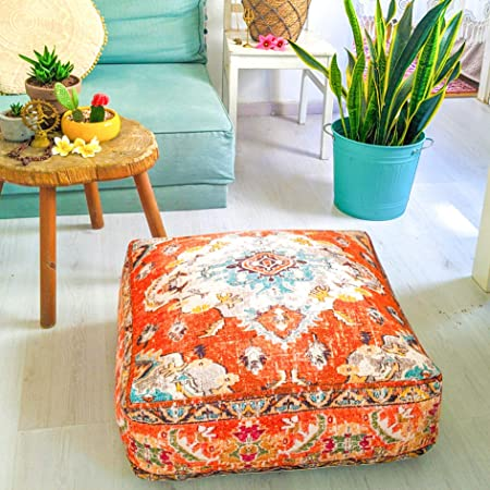 Stuffed with Premium Filler Cotton Floor Cushion Mandala Life ART Bohemian Yoga Decor Pouf Ottoman 24x8 inches Round Red Mediation Pillow