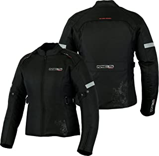 MBS MJ21 James Motocicleta Motocicleta larga chaqueta de viaje textil Negro, 2XL
