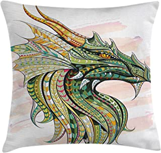 Ambesonne Celtic Throw Pillow Cushion Cover, Head of Dragon with Ornate Effects on Grunge Backdrop Mythical, Decorative Square Accent Pillow Case, 16