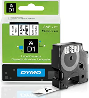 DYMO Authentic Standard D1 Labeling Tape for LabelManager Label Makers, Black print on White tape, 3/4'' W x 23' L, 1 cartridge (45803)