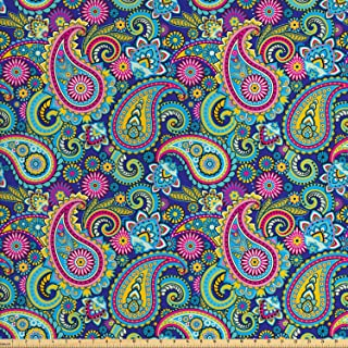 Ambesonne Paisley Fabric by The Yard, Ornate Traditional Paisley Elements with Details in Bohemian Design Print, Decorative Fabric for Upholstery and Home Accents, 2 Yards, Blue Pink