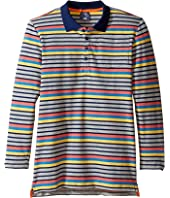 Toobydoo Multi Stripe Long Sleeve Polo (Toddler/Little Kids/Big Kids)