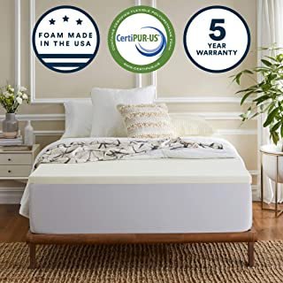 Sleep Innovations 2-inch Gel Memory Foam Mattress Topper, Made in The USA with a 5-Year Warranty, Queen