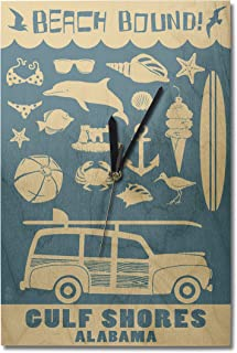 Lantern Press Gulf Shores, Alabama - Coastal Icons (#3) (10x15 Wood Wall Clock, Decor Ready to Hang)