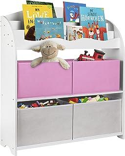 ONVAYA® Bibliothèque pour enfants - Blanc - Avec boîtes - Rangement des livres et des jouets - Organiseur pour chambre d'e...