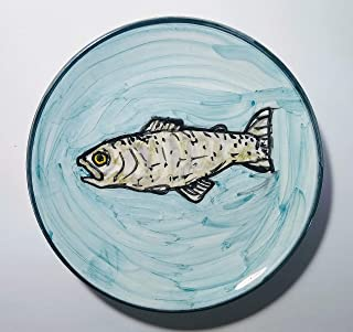 La Trota-Piatto di ceramica fatto a mano,dimensioni diametro cm 16 alto cm 2,4,pronto per essere appeso alla parete.Made i...