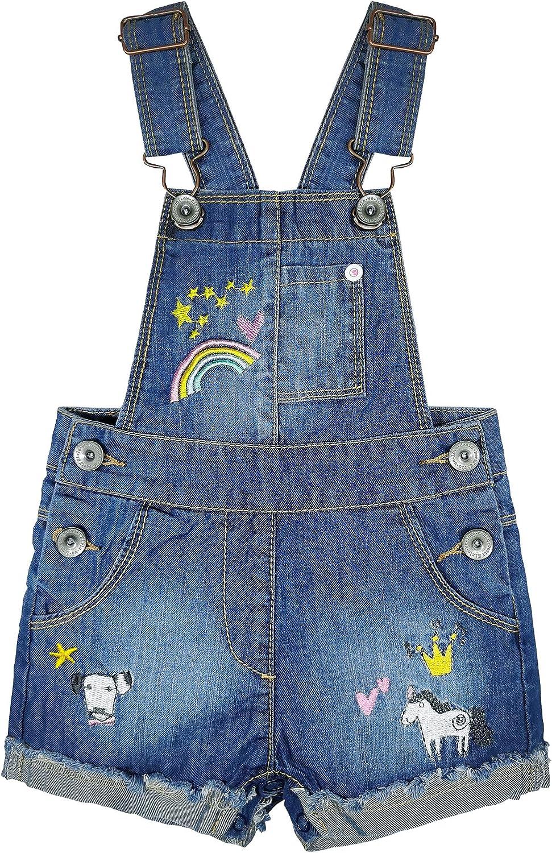 KIDSCOOL SPACE Baby & Little Girls/Boys Summer Shorts,Adjustable Jean Shortall Overalls