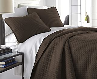 Southshore Fine Linens - Vilano Springs Oversized 3 Piece Quilt Set, King/California King, Chocolate Brown