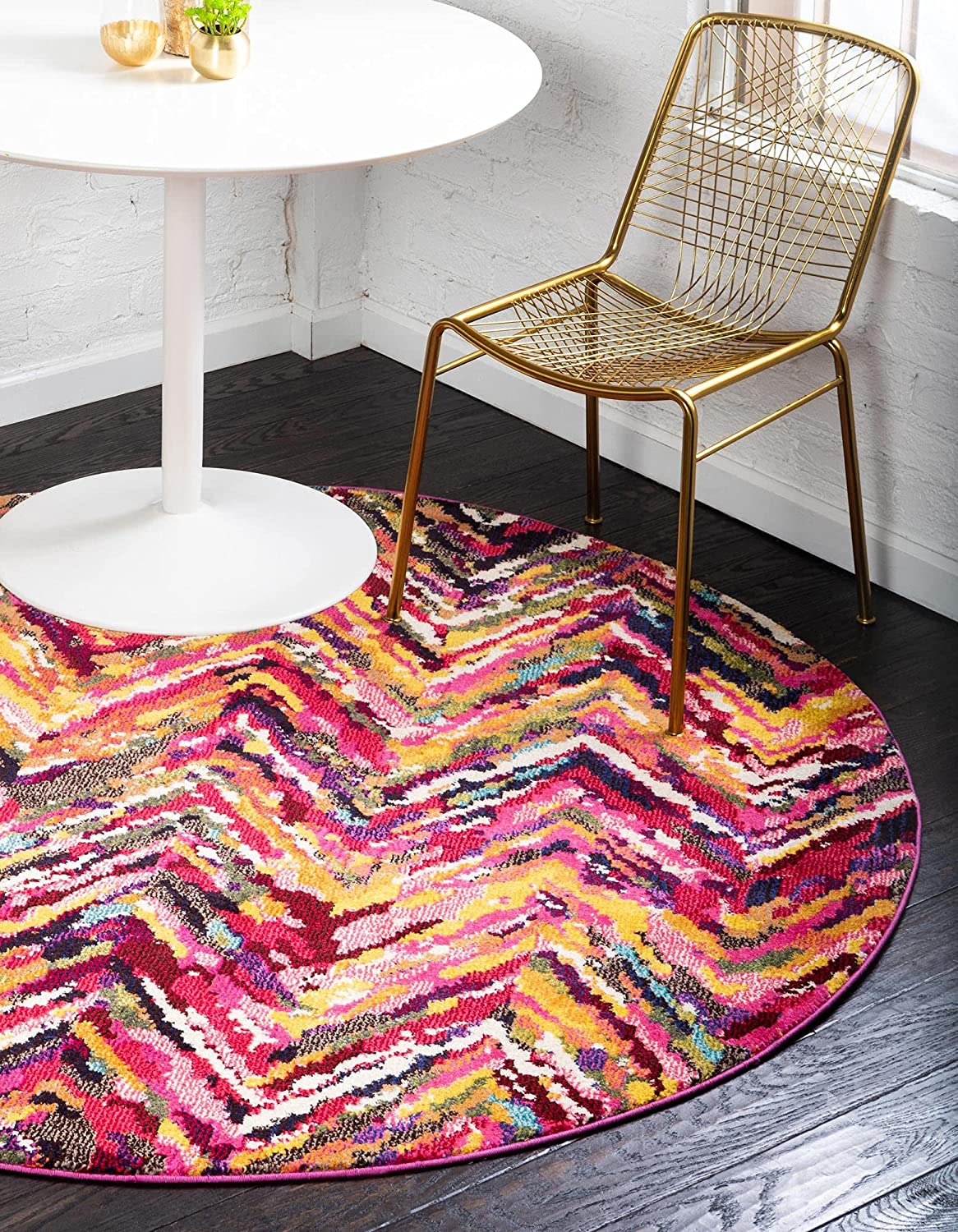 Unique Loom Estrella Collection Colorful Rug Round F 6 Finally resale start Max 46% OFF Abstract