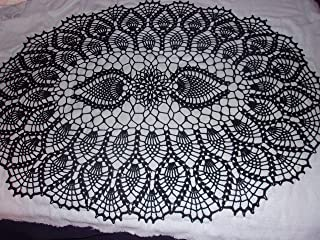 Black Lace Doily, Lace Tablecloth, Lace Centerpiece, Pineapple Pattern, Large Oval, 28 x 20 inches