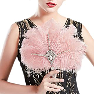 BABEYOND Vintage Bridal Feather Bouquet 1920s Ostrich Feather Fan Crystal Bridesmaid Bouquet 20s Gatsby Wedding Bouquet Flapper Accessories (Pink)
