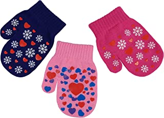 N'Ice Caps Little Girls and Infants Magic Stretch Mittens 3 Pairs Assortment