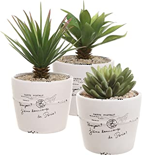 4 inch Rustic White Ceramic French Parisian Postcard Tabletop Succulent/Herb Planter Pots (Set of 3)