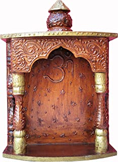 Handicraft Store A Temple Made by Wood with Emboss Work and Om Symbol, Must for Every Indian Home Temple/Mandir