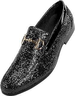 The Original Mens Metallic Sparkling Glitter Tuxedo Slip on Smoking Slipper Dress Shoe