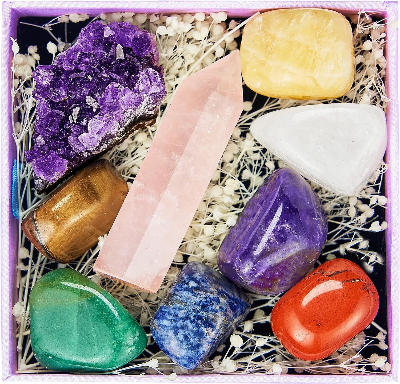 9 Gemstones Crystals and Healing Stones, Chakra Crystals Set, Tu