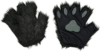 Black Furry Cat, Dog, Bear, Wolf, Fox Paws Gloves Costume Accessory Set - Fits Adults and Kids
