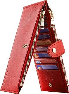 Womens Walllet RFID Blocking Bifold Multi Card Case Wallet with Zipper Pocket