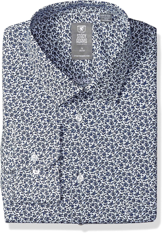 STACY ADAMS Men's Vines Print Modern Fit Dress Shirt
