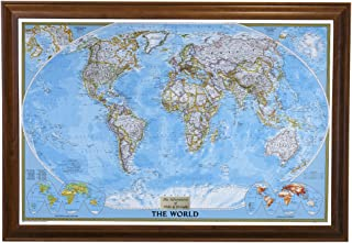 Push Pin Travel Maps Personalized Classic World with Brown Frame and Pins - 27.5 inches x 39.5 inches